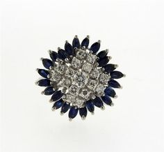 18K Gold Diamond Sapphire Cocktail Ring