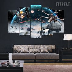 Star Wars Battle - 5 Piece Canvas Painting framed and large. Any of the Star Wars pictures would be great. Star Wars Wall Art, Star Wars Bedroom, Star Wars Quotes, Star Wars Wallpaper, Star Wars Gifts, Star Wars Party, Star Wars Characters, Canvas Wall Art, Painting Canvas