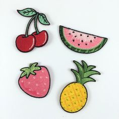Summer Fruit S/4 Iron On Patches – Watermelon, Pineapple, Strawberry, & Cherries - Embroidered Appliques