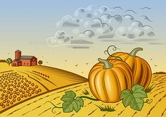 Pumpkin Harvest Landscape by iatsun Retro landscape with pumpkins in woodcut style. Editable vector illustration with clipping mask.