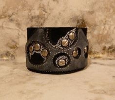 Black Grey and Silver Hand Painted Ready to Ride Leather Cuff/Bracelet by TheWristbandit, via Flickr