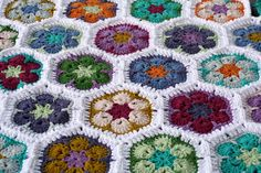 Just gorgeous crochet of African Flowers by Rett Grayson