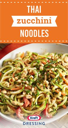 Thai Zucchini Noodles – Featuring peanuts and colorful vegetables like carrots, zucchini, and bell peppers, this easy recipe is sure to be a family favorite. Ready in just 15 minutes, this dish is the epitome of a quick dinnertime idea. Zoodle Recipes, Spiralizer Recipes, Vegetable Recipes, Asian Recipes, Low Carb Recipes, Vegetarian Recipes, Cooking Recipes, Healthy Recipes, Freezer Recipes