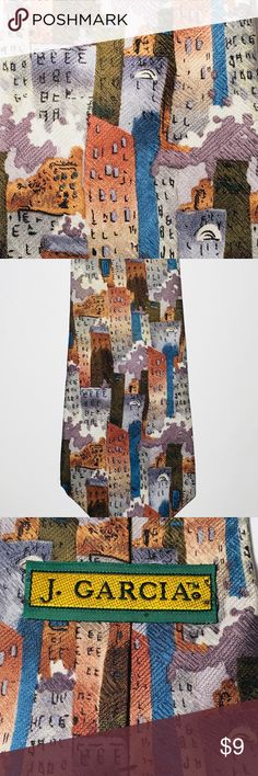 J Garcia Vtg Tie, Stonehenge LTD, Silk USA, Jerry •	Very nice Jerry Garcia tie, called Stonehenge LTD. 	•	3.75 inches wide at widest point 	•	57 inches long. 	•	Nice design and colors. 	•	100% silk, made in USA 	•	You will love this tie! 	•	Thanks for viewing. j garcia Accessories Ties