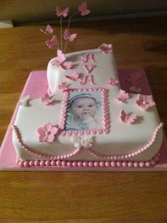 Number one birthday cake with butterfly and flower detail