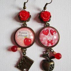 """Boucles d'oreille """"rose sucré"""", pendantes, cabochon bronze, bijoux fantaisie"""