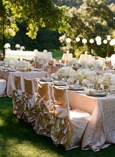 Champagne Bustle Ruffles Chair Covers Wildflower Linen S Diana In Stardust Crinkle Taffeta Table Linens Fls And Photo By Fleurs De