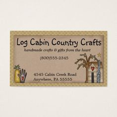 Log Cabin Rustic Primitive Country Business Card - rustic gifts ideas customize personalize