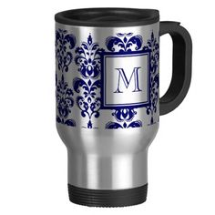Your Monogram, Navy Blue Damask Pattern 2 Mugs