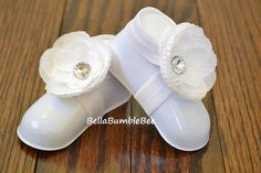Baby Barefoot Satin Flower Elastic Sandals in White, Baby Booties, Newborn  Christening Shoes, Perfect for Toddlers of Infants, Photo Prop on Etsy, $9.95