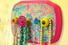Jewelry Holder, Necklace Display, Bright colors, Neon colors, Girls room decor, Cute Knobs, Colorful. $30.00, via Etsy.