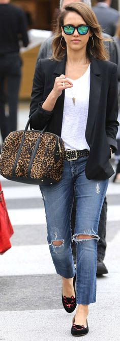 Jessica Alba mixes greats: boyfriend jeans, mirrored sunglasses, Charlotte Olympia flats, and a leopard print bag