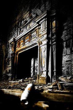 ruin, fireplace