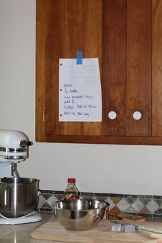 Print or write out recipes and tape them to your cabinets for easy access. Losing that piece of paper 17 times (or spilling pie filling all over it) is NOT going to help you get into a zen cooking space. You can also cut out pages from magazines or make photocopies if you want to do this with a recipe from a cookbook.  Thanksgiving Cooking Hacks