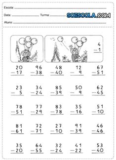 ATIVIDADES DE MATEMÁTICA 3° ANO Mental Maths Worksheets, First Grade Math Worksheets, 5th Grade Math, Kindergarten Worksheets, Math Resources, Math Tutor, Math Skills, Math Exercises, Nouns And Pronouns