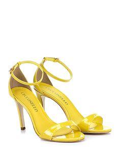Cecconello - Sandalo alto - Donna - Sandalo alto in vernice con cinturino alla caviglia. Tacco 95. - GIALLO - € 149.00
