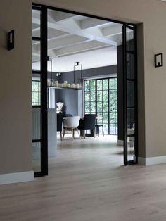 Black doors House Design, Summer House Interiors, House Flooring, House Inspiration, Doors Interior, House Interior, Home Deco, Home Interior Design, Sliding Doors Exterior