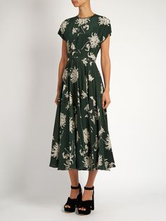 Dahlia-print silk-charmeuse midi dress | Rochas | MATCHESFASHION.COM