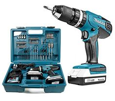 Makita Cordless Combi Drill 70 piece Makita accessory set, contained within the pilot case drawer Two speed gearbox with metal gears for durability Percussion, Man Cave Gifts, Metal Gear, Makita, Drill, Charger, Pilot, Stuff To Buy, Gears