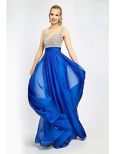f2ad3d0618cd2e6 Details about Jovani Sexy Royal Chiffon Embellished Gown Prom Evening Dress  Sz 4 NWT