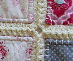 A quilt but slightly different.  This quilt measures 48 by 80 inches and fits easily on a single bed.  This quilt contains 84 Tilda fabric squares of 6 inches. There are 42 different fabrics in this quilt. With the crochet border every square is approximately 7 inches. The quilt is wadded and washable at 40 degrees Celsius. When you prefer a different size, or you have a question, please be sure to contact me. All my products are made in my smokefree and petfree home.