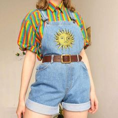 look Special Sun Printed Short Denim Overalls keyfancy Cute Casual Outfits, Retro Outfits, Vintage Outfits, 80s Style Outfits, Colourful Outfits, Aesthetic Fashion, Aesthetic Clothes, 80s Fashion, Fashion Outfits