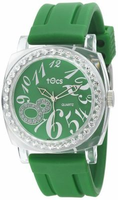 Tocs Women's 40317 Analog Round Glitz Green Tea Watch Tocs. $65.00. Water resistant silicon resin strap with buckle clasp. Three-hand Japanese quartz analog movement. Water-resistant to 99 feet (30 M). Green glitz poly-plastic impact resistant case. Crystal embellished bezel