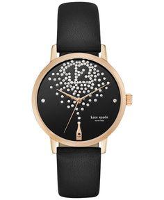 kate spade new york Women's Black Vachetta Leather Strap Watch 34mm KSW1014