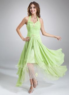 Holiday Dresses - $140.49 - A-Line/Princess Halter Asymmetrical Chiffon Tulle Holiday Dress With Ruffle Beading Appliques Sequins (020036568) http://jjshouse.com/A-Line-Princess-Halter-Asymmetrical-Chiffon-Tulle-Holiday-Dress-With-Ruffle-Beading-Appliques-Sequins-020036568-g36568?ver=0wdkv5eh