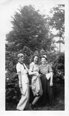Black and White Vintage Snapshot Photograph 3 Women Laughing Dress Smile 1930'S | eBay