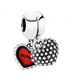 Pandora Piece of My Heart Mother/Daughter with Red Enamel Dangle Cheap Sale