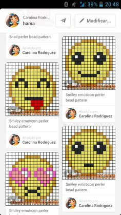 Emoticonos 2 Plastic Canvas Coasters, Plastic Canvas Crafts, Plastic Canvas Patterns, Loom Patterns, Cross Stitch Patterns, Pixel Art, Perler Bead Emoji, Smiley Emoticon, Emoji Craft
