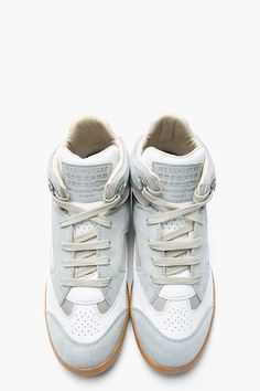 MAISON MARTIN MARGIELA Ice Blue  White Mesh Paneled Mid-Top Sneakers Mens Fashion Online, Best Mens Fashion, Men's Fashion, Retro Sneakers, Classic Sneakers, Me Too Shoes, Men's Shoes, Shoe Boots, Nikes Girl