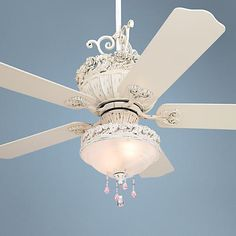 52 Casa Chic Ceiling Fan with Pretty and Pink Light Kit Ceiling Fan Redo, Ceiling Fan Parts, Ceiling Fan Makeover, Ceiling Fan Chandelier, White Ceiling Fan, Best Ceiling Fans, White Chandelier, Bedroom Ceiling, Ceiling Fan With Remote