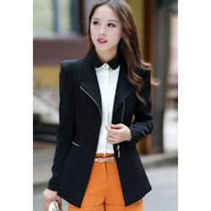 $19.73 Zipper Polyester Fashionable Style Long Sleeves Lapel Collar Blazer For Women