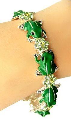 Green Frog Enamel & Crystal Stretch Bracelet