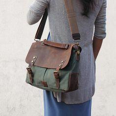 Canvastaschen - Canvas Leather Briefcase, Handmade Messenger Bag, - ein Designerstück von Lisa-Krasil bei DaWanda
