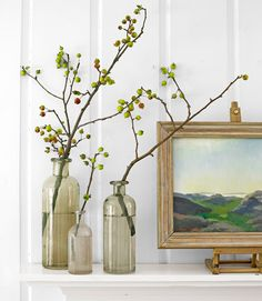 The best thing about this sort of display? There's absolutely no arranging involved. Simply stripped the leaves from each limb before putting it in a vase. Group several different-size vases for even greater visual payoff.