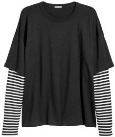striped Men H&M US is part of Striped sleeve shirt - Tshirt in slub cotton jersey Dropped shoulders and short sleeves layered over long, ribbed sleeves Slightly longer at back Teen Fashion Outfits, Edgy Outfits, Retro Outfits, Grunge Outfits, Girl Outfits, Grunge Clothes, Hipster Outfits, Aesthetic Shirts, Aesthetic Clothes