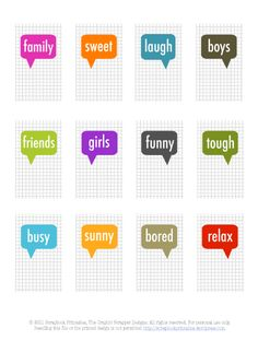 Free speech bubble word journaling cards by  Louise #ProjectLife #Scrapbooking