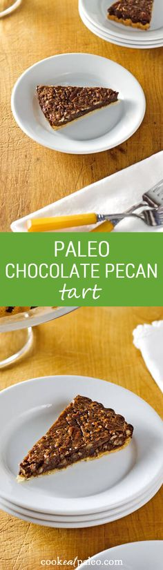 This paleo chocolate pecan tart is gluten-free, grain-free and refined sugar-free. And a perfect quick and easy chocolate dessert. ~ http://cookeatpaleo.com