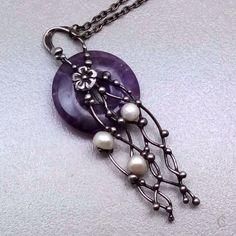 Náhrdelník - Ametyst s perlami