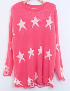Pink All Over Stars Ripped Oversized Sweater US$25.41
