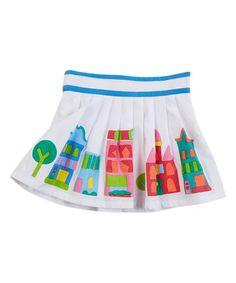 Look at this #zulilyfind! White & Blue Pleated Skirt - Infant, Toddler & Girls #zulilyfinds