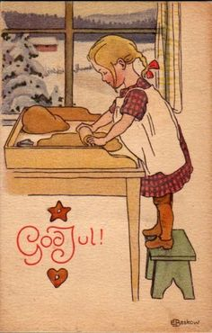 Elsa Beskow was the illustrator that shaped my taste I think. The books my mother had loved as a child in Sweden were passed on to me and I poured over every detail and loved them too. --- I too Elsa Beskow. Norwegian Christmas, Danish Christmas, Noel Christmas, Vintage Christmas Cards, Scandinavian Christmas, Christmas Pictures, Vintage Cards, Winter Christmas, Christmas Baking