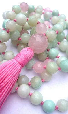 Amazonite Rose Quartz Knotted Mala Necklace, Aqua Pink, Yoga Mala, Yoga Necklace, Yoga Jewelry, Meditation Mala