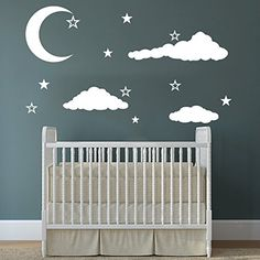 Cloud Wall Decals Baby Room Nursery Clouds Moon and Stars Wall Vinyl Decal Stickers Playroom Kids Children Bedroom Murals Home Decor >>> Check out the image by visiting the link. (Note:Amazon affiliate link)