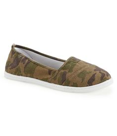 Camo Print Slip-On - Aeropostale (Arrived in our store July Summer Outfits, Girl Outfits, Cute Outfits, Summer Clothes, Aeropostale Outfits, Flip Flop Sandals, Flip Flops, Camo Print, All Things Beauty