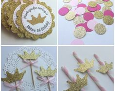 Pink and Gold Princess Party Package. Cupcake Toppers, Personalized Tags, Straws and COnfetti by PaperTrailbyLauraB on Etsy Princess Party Favors, Princess Birthday, Baby Birthday, First Birthday Parties, First Birthdays, Birthday Bunting, Gold Party, Princesse Party, Deco Baby Shower