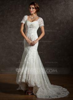 [US$ 247.99] Trumpet/Mermaid Sweetheart Asymmetrical Tulle Wedding Dress With…
